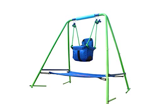HH66 2 In 1 Toddler Swing Seat A-Frame Metal Swing Play Set Indoor Outdoor Backyard Folding Toddler Garden Swing Frame With Safety Seat And Bouncer For Kids, Nursery Swing Blue, Best Gift