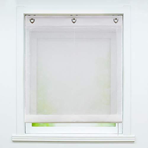 Joyswahl Weißes Ösenrollo in Leinen-Optik Leinenstruktur halbtransparentes Raffrollo Unifarbiges Schals Fenster Gardine mit Hakenaufhängung, ohne Bohren BxH 60x140cm 1 Stück