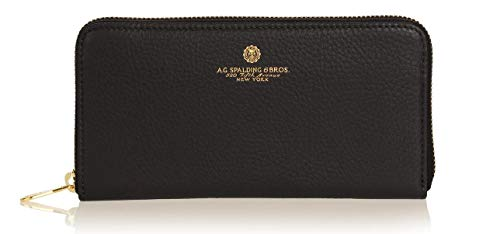 Portafoglio Portamonete Wallet 100% Pelle A.G.SPALDING&BROS. Donna Woman Nero Black Art. 175433U900