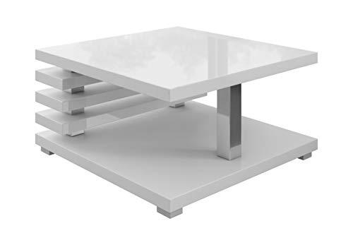 Couchtische Wohnzimmertische Beistelltisch Tisch Oslo 60 x 60 cm Weiß Hochglanz