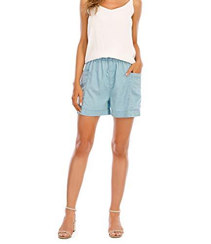MetHera Women's Cool Breeze Elastic Casual Pull-on Denim Shorts (16, Light Blue)