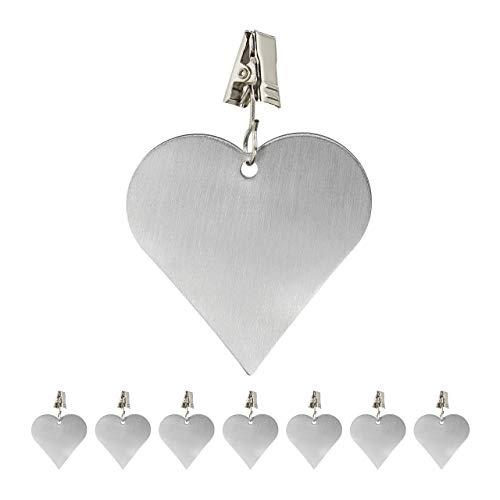 Relaxdays 8 x Tischdeckenbeschwerer, Tischtuchbommeln zum Beschweren, Tischtuchgewichte Herz, In- & Outdoor, Edelstahl, Silber