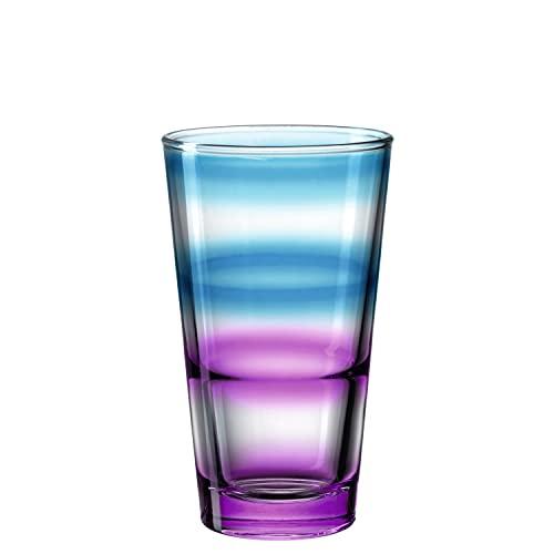 Leonardo Event Trink-Glas 1 Stück, spülmaschinenfestes Longdrink-Glas, bunter Trink-Becher aus Glas, stapelbares Saftglas, rot blau, 315 ml 023780