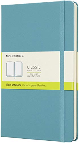 Moleskine Classic Notebook, Hard Cover, Large (5' x 8.25') Plain/Blank, Reef Blue, 240 Pages