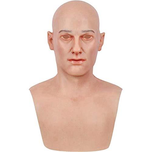 SmallPocket Halloween Masken Latex,Männer Und Frauen Gruselige Alte Mann Masken Realistische Menschliche Faltenkopfmaske Gruseliges Zombie-Kostüm des Lockigen Haares (Jung)