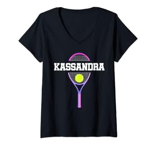Mujer Kassandra - Pelota y raqueta de tenis para niñas Camiseta Cuello V