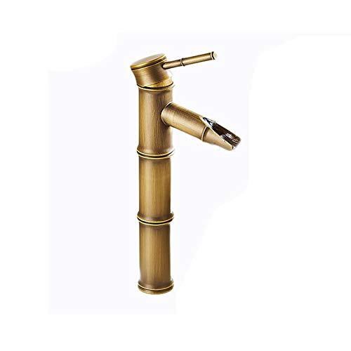 Shuilongtou Grifo de bambú de Cobre Completo Retro de Estilo Europeo Ajustable Ajustable Cuarto de baño frío y frío Fregadero del hogar. 0327 (Color : A)