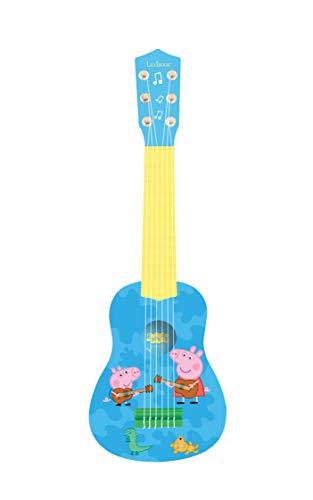 Lexibook K200PP Pig Peppa Wutz Schorsch Meine erste Gitarre, 6 Nylonschnüre, 53 cm, Anleitung inklusive, Blau/Gelb