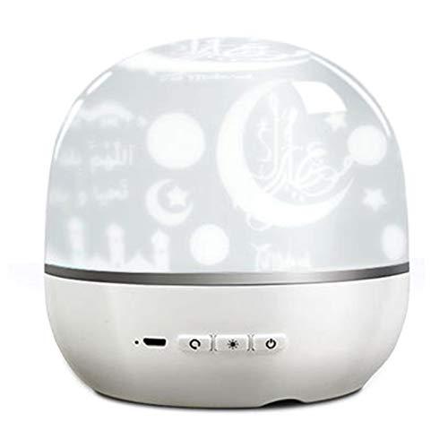 Adaskala Lámpara de proyección de Altavoz pequeño Inteligente BT con luz de Color giratoria 3D Alrededor del Mini Altavoz portátil Qur'An