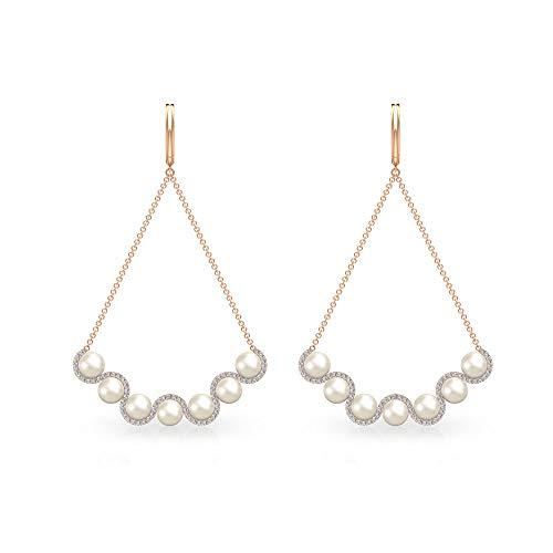 Pendientes de cadena de perlas de diamante certificado IGI de 0,52 ct, Art Deco, para mujer, IJ-SI, claridad de color, pendientes colgantes de diamante, para adolescente, con clip.
