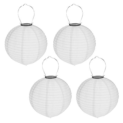 4er Set Solar LED Lampion Party Garten Laterne ø 20cm Weiß Deko Lampenschirm Lampe Kugel Gartenlampion