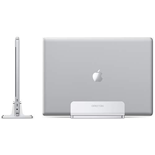 OMOTON Verstellbarer vertikalen Laptop Ständer, Aluminium Platzsparender Ständer für alle Handys und Notebooks - Perfekt für MacBook, MacBook Air, MacBook Pro, Ultrabook, Lenovo und andere, Silber