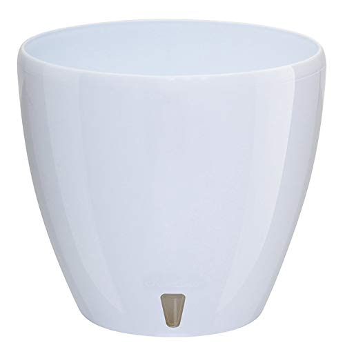 Santino, Self Watering Planter Deco 5.5 Inch, White , Indoor Decorative Flower Pot with Drainage Cartridge and Water Level Indicator
