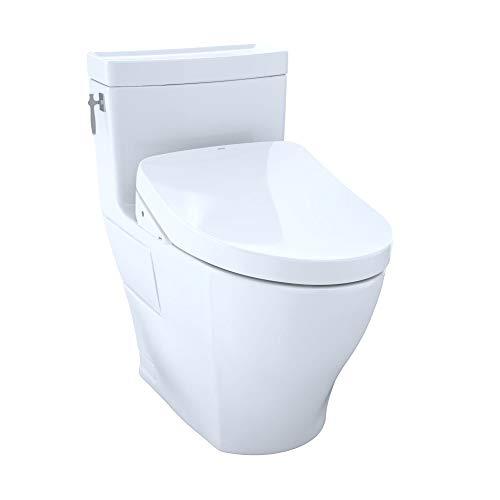 TOTO MW6263046CEFG#01 WASHLET+ Aimes One-Piece Elongated 1.28 GPF Toilet and Contemporary WASHLET S500e Bidet Seat, Cotton White