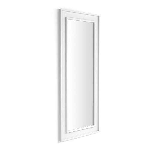 Mobili Fiver, Espejo de Pared/Espejo de Piso, 160x67, Fresno Blanco, 160 x 67 x 3,6 cm, Made in Italy