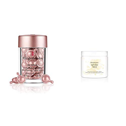 Elizabeth Arden Retinol Ceramide Capsules Line Erasing Night Serum, 30 Capsules & White Tea Body Cream, 400 ml