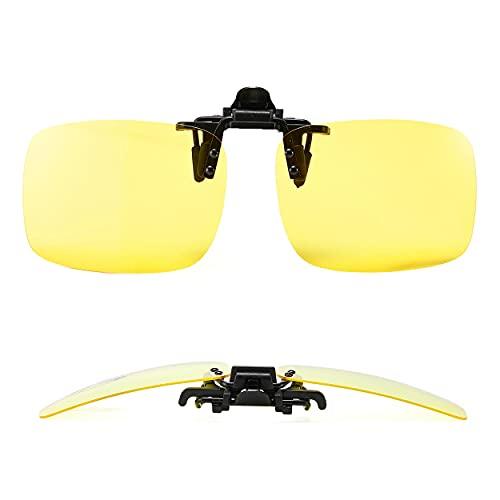 MIKOO Sonnenbrillen Clip Polarisierte Sonnenbrille Nachtsichtbrille Autofahren FüR BrillenträGer üBerzieh-Sonnenbrille Mit Brillen-Etui FüR Herren Und Damen