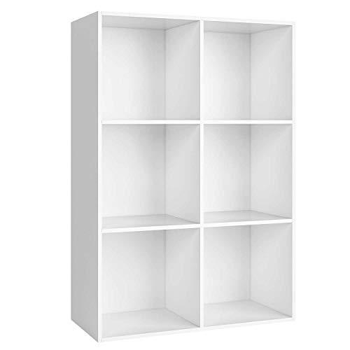 Homfa Bücherregal Regal mit 6 Fächern Raumteiler Standregal Büroregal Aktenregal Ordnerregal, weiß
