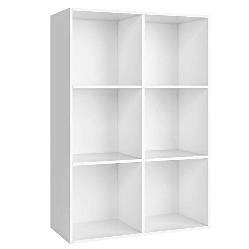 Homfa Bücherregal Regal mit 6 Fächern Raumteiler Standregal Büroregal Aktenregal Ordnerregal,...