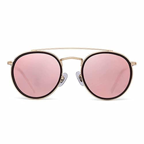 JIM HALO Gafas de Sol Polarizadas Redondas Aviador Marco de Metal Lente Circulo Plano Anteojos Mujer Hombre(Aleación Dorado Punta Café/Rosa Espejo Polarizado)