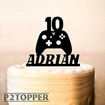 Derles Gamer 860434 - Decoración para tarta (mando de juego, decoración para tarta de Xbox, fiesta de cumpleaños, juego de mando, fiesta de cumpleaños, fiesta de cumpleaños para niños)