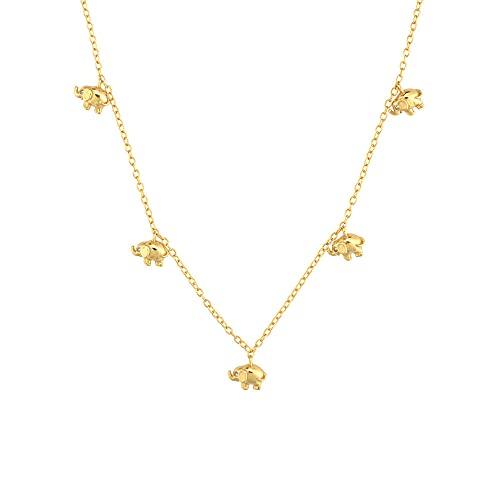 925 plata oro elefante encantador gargantilla collar largo cadena mujeres collar fino Valentien S regalo-oro