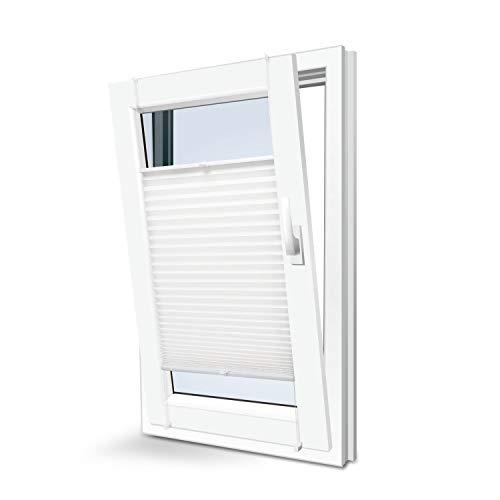 KINLO Plissee Faltrollo ohne Bohren mit Klemmträger 75x130cm Weiß Blickdicht Sonnenschutz Sonnenschutzrollo Fensterrollo Jalousie für Fenster & Tür
