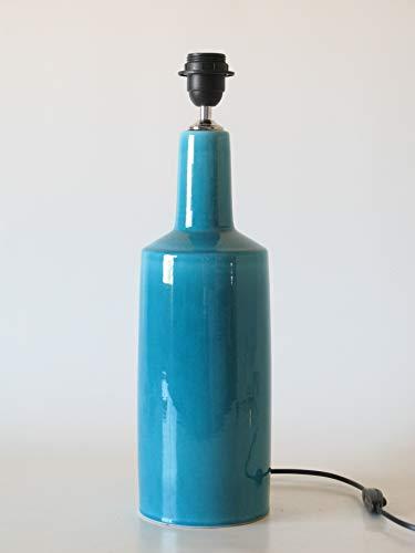 POLONIO Lámpara de Ceramica Grande de Salon de 48 cm Azul, E27, 60 W - Pie de Lámpara de Cerámica Sobremesa - Jarron de Ceramica Azul Turquesa Antiguo Craquelado