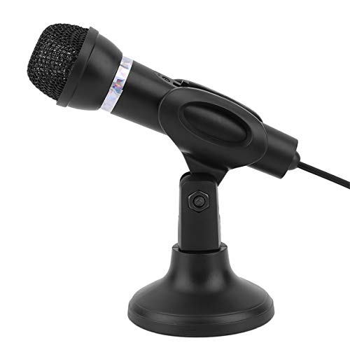 MXECO Computer Notebook Desktop-Mikrofon KTV-307 Draht Karaoke Handmikrofon 3.5mm Mic mit Sockel zum Singen Recording (schwarz)