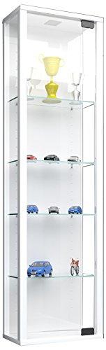 VCM 911786 Vitrine Wandvitrine Sammelvitrine Glasvitrine Wand Regal Schrank Glas Hängevitrine ohne Beleuchtung Weiß Stano Mini,115 x 33 x 18 cm