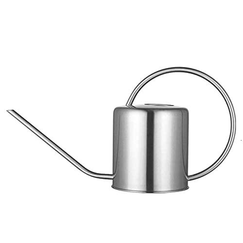 Acero Inoxidable Regadera,1.5L 50 Oz Arañazos Resistentes Metal Caño Largo Regadera Para Jardin Y Hogar Regadera De Plantas-Plata 1.5l