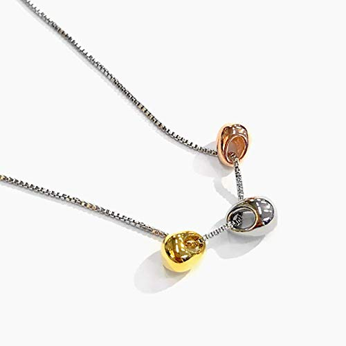 Collar personalizado, collar con colgante elíptico de tres colores, pulido exquisito, simple, a la moda, salvaje