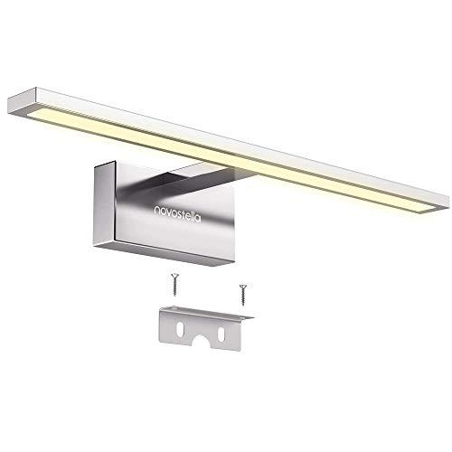 Novostella LED Spiegelleuchte 10W Badleuchte Verchromte Aluminiumlegierung 3000K IP44 wasserdicht LED Schminklicht 800lm 40CM, sicher zu benutzen CE und RoHs zertifiziert (400x125x60mm), Warmweiß