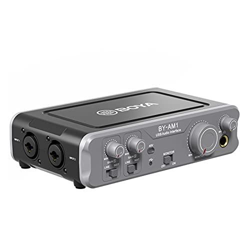 Funien BY-AM1 Mezclador de o de doble canal Interfaz de o USB n entradas mbinadas de 6.35 mm/XLR Salidas de línea y auriculares de 6.35 mm Alimentación fantasma de 48 V para grabación de