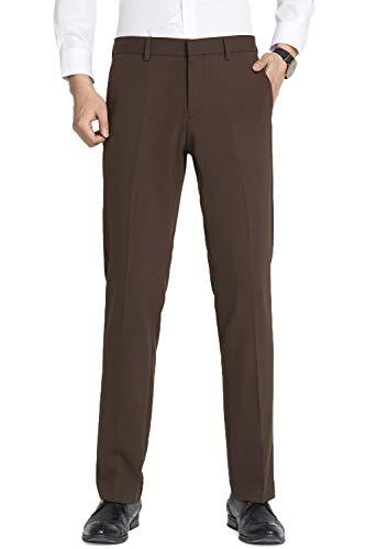 TALITARE Herren Anzughose Slim Fit, Stretch Schwarz Business Straight Leg Casual Sommer Smoking,Braun,40W x 30L