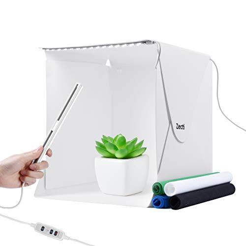Lichtzelt mit Beleuchtung, Zecti Tragbarer Foto-Studio-Ministand-Schießzeltinstallationssatz faltende Fotografie Leuchtkasten 30 * 30cm