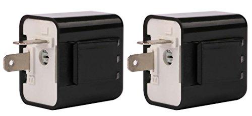 Sdootauto 2 Pcs 12V 2-Pin Motorcycle Adjustable Flasher Turn Signal LED Flasher Relay Hyper Indicator Flash- Black…