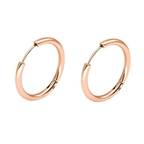 Epinki Joyería de moda Acero inoxidable 2.5MM Mujeres Hombres Aro Pendientes 1 Par Rosa Oro 12MM