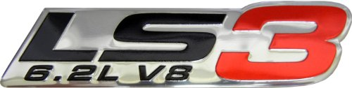 LS3 6.2L V8 Red Engine Emblem Badge Nameplate Highly Poled Aluminum Chrome Silver for GM General Motors Performance Chevy Corvette C6 ZR1 Cam SS RS G8 GXP VXR8