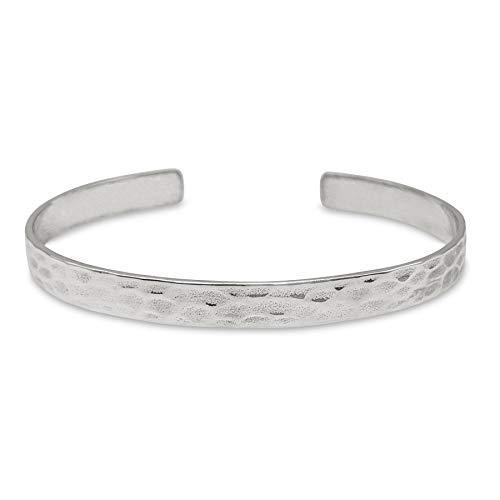 81stgeneration Women's .925 Sterling Silver Hammered Elegant Simple Adjustable Bangle Bracelet