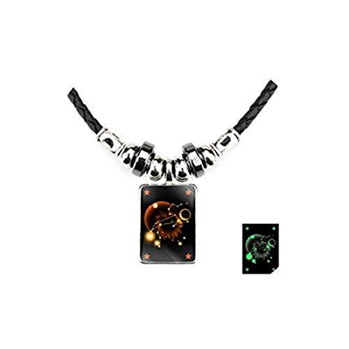 yichahu Luminoso collar de 12 constelaciones de cristal para hombre con 12 gemas con colgante de constelación, cordón negro, collar de piedra biliar negro (Leo)