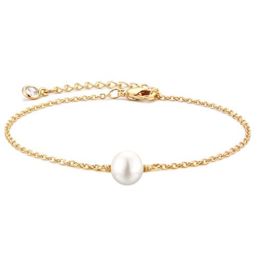 Tiny Pearl Bracelet Adjustable Chain Jewelry by Vacrona