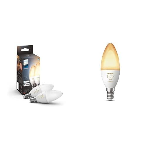 Philips Hue White Ambiance 2 Lampadine LED Smart, con Bluetooth, Attacco E14, 5 W, Dimmerabili, Luce Bianca da Calda a Fredda + Hue White Ambiance Lampadina LED Smart, con Bluetooth, Attacco E14