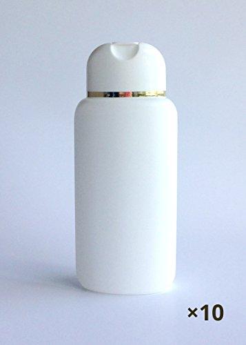 10 ovale Klappflaschen weiß mit Goldrand 200ml Kosmetex leer zum Befüllen, Duschgel-Flasche, 10x m. Goldrand