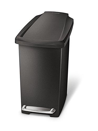 simplehuman, Black 10 Liter / 2.6 Gallon Compact Slim Bathroom or Office Step Trash Can, Plastic