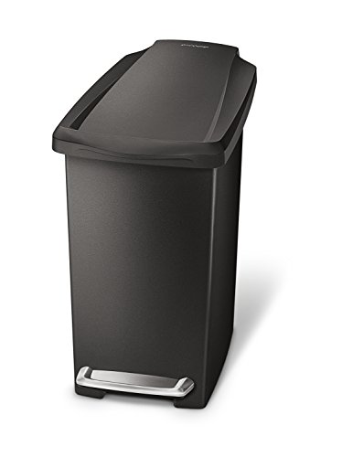 simplehuman, Black 10 Liter / 2.6 Gallon Compact Slim Bathroom or Office Step Trash Can, Plastic