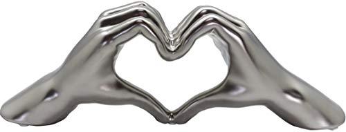 GILDE Keramik Skulptur Figur Heart Kunstobjekt - Herz - Hand - Statue - Handarbeit - 31 x 11 x 7cm