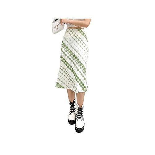 Harajuku E-Girl 90S Mode Midirock Grün Bedruckt Y2K Vintage High Waits Röcke Herbst Frauen Streetwear Indie Outfit M