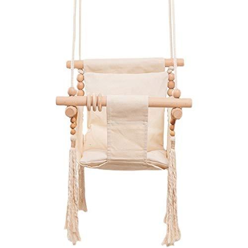 Juego de Swing de bebé con cinturón de Seguridad Mecedora del Asiento de Lona de Madera de Madera 0-12 Meses de Juguete para bebé, al Aire Libre, pequeña Cesta, recreación Segura para niños