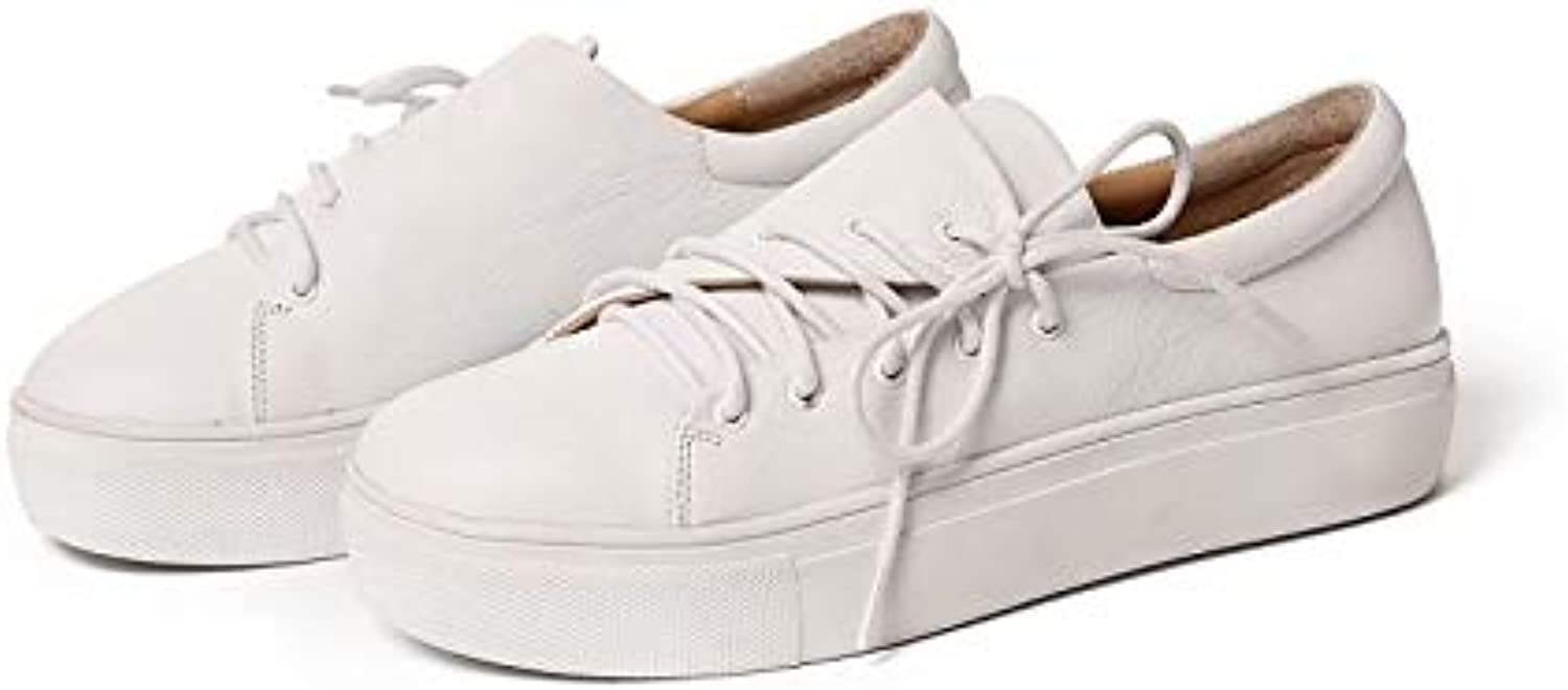 Women's Comfort shoes Nappa Leather Spring & Summer Sneakers Flat Heel White